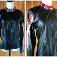 Vintage 70s Cafe Racer Jacket Pleather Wet Look Sporty Racing Stripes Faux Leather  Motorcycle Jacket S
