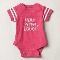 You Are Loved Typography Baby Bodysuit