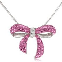 Sterling Silver and Pink Swarovski Elements Bow Pendant Necklace, 18""