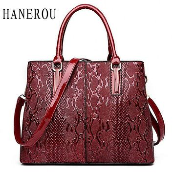 Women Large Capacity Faux Leather Snake Skin Embossed Office Bag / Hand Bag