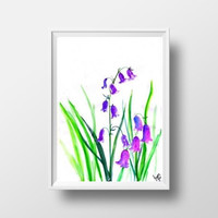 Purple bluebell watercolor flower painting wall art print poster decor livingroom decal print hydrangea floral art poster large small 4x6 A3