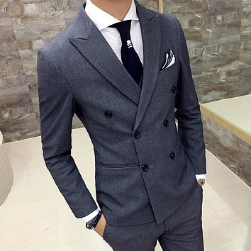 Classic men suit grey men business suit black men terno masculino costume homme wedding suits