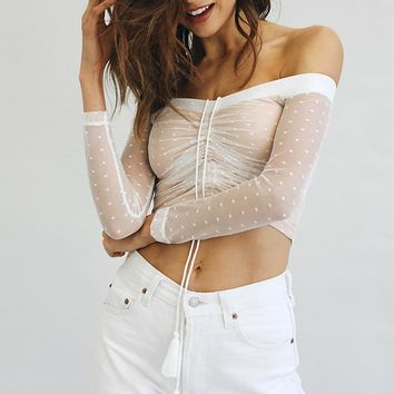 Summer Ladies Lace Patchwork Sexy See Through Long Sleeve T-shirts [11942984975]