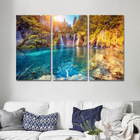 Oil Painting Canvas Pictures for Living Room with No Frame Posters and Prints Landscape Waterfall Wall Art Home Decor 3 Pieces
