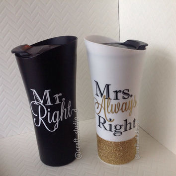 Mr. & Mrs. Wedding Set / Coffee To Go Cups / Mr.Right / Mrs.Always Right / His and Hers Set / Wedding Gift / Bridal Gift / Glitter Dipped