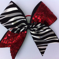 CHEER BOW red sequins and black and silver zebra