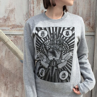 moth WOMENS sweater mystical beetles insect tarot sweatshirt for woman palmistry hand astrology print fortune telling steampunk hipster goth