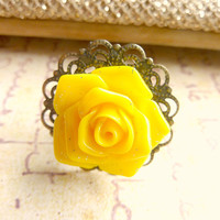 Yellow Flower Ring Yellow Ring Sunshine Yellow Rose Ring Vintage Style Lace Filigree Floral Ring Antique Brass Yellow Flower Ring