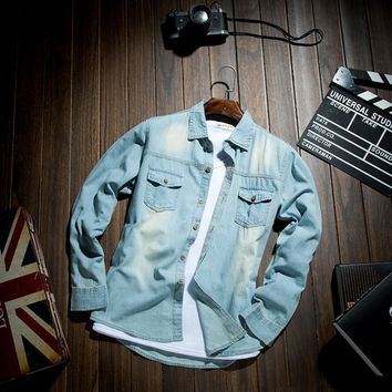 Men's Casual Long-sleeved Blue Denim Shirt Spring&Autumn Cotton Turn-down Collar Pockets