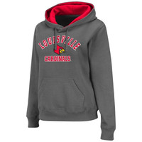 Louisville Cardinals Womens Arch Mascot Logo Pullover Hoodie - Charcoal