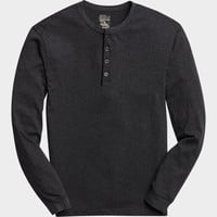 PRONTO BLUE HENLEY SHIRT, CHARCOAL AND BLACK STRIPE