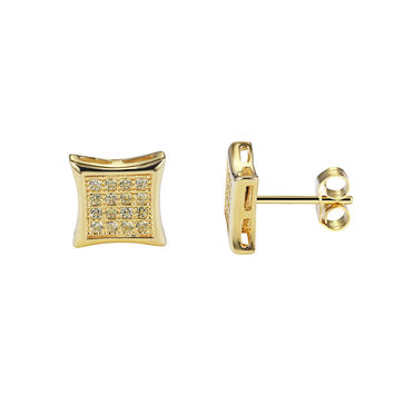 Iced out yellow Lab Diamonds Kite Shape Canary Designer Sterling Silver Small Stud Earrings