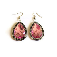 pink earrings pink rhinestone big shiny earrings wedding bridesmaid party prom everyday or gift high fashion pink earrings