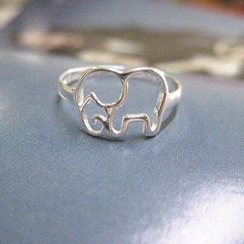 Cute Hollow Elephant Silver Ring