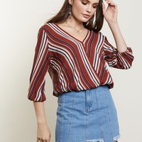 Lovely Stripe Surplice Top