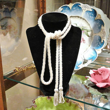 Vintage Crochet Necklace Faux Pearls Crocheted Beads Beaded Sautoir Lariat Tassels Sautoire Rope Mid Century Art Deco Flapper Revival 56 in