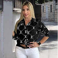 LV Louis Vuitton Fashion Women Long Sleeved Lapel Shirt Top