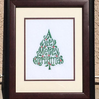 Christmas Embroidery Framed Wall Art Holiday Decor - Cute Christmas Tree Art Design with Frame Included