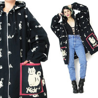 1990s CAT PRINT Jacket Hooded Jacket Screen Printed Mouse Novelty Print Vintage Cat Jacket Oversized Zip Up Parka Plus Size Jacket Meow (XL)