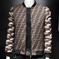 Fendi Fashion New More Letter Print Long Sleeve Coat Jacket Men