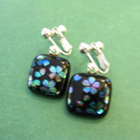 Dichroic Clip Earrings, Flowers Clipons, Fused Glass Jewelry, Clip On Jewelry - Cherry Blossom - 1961 -1