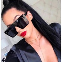 Retro Square Sunglasses Women Men Brand Design Oversized UV400
