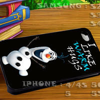 Disney Movies Frozen Movie Olaf I Like Warm Hugs For iphone 4 iphone 5 samsung galaxy s4 / s3 / s2 Case Or Cover Phone.