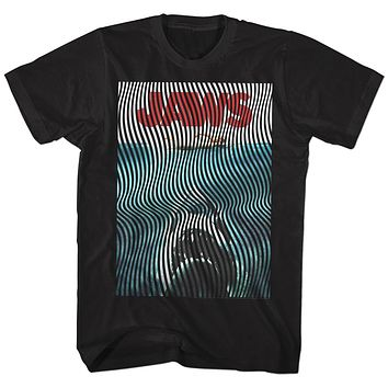 Jaws T-Shirt Curved Lines Movie Poster Black Tee