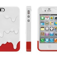 White /Red Melt Ice Cream Hard Plastic Case w/Package & Accessory for Iphone 4 & 4S