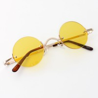 Vintage Inspired Round Sunglasses - Yellow