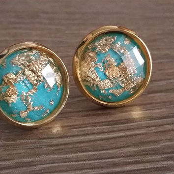 Faceted Aqua Gold leaf silver tone stud earrings