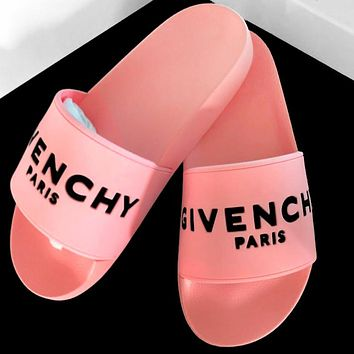 Givenchy Trending Classic Slippers Women Men Letters Sandals Pink