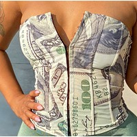 Women's dollar bill print small breasted blouse with back straps and chest wrap