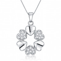 Sterling Silver Heart Circle W. Cubic Zirconia Pendant Necklace
