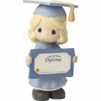 "Precious Moments ""So Proud Of You! Congratulations!"" Girl Bisque Porcelain Figurine"
