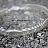 Heart Pattern Sterling Silver Cuff Bangle - Solid Sterling Silver Bracelet - Cuff Bracelet - Bangle Bracelet - Valentine's Day Gift For Her