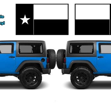 """(2) 6 or 12"""" Texas State Flag Vinyl Hood Decals Lone Star State USA fits: Jeep Wrangler"""