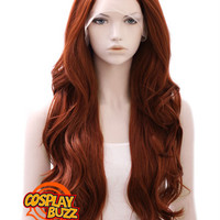 """26"""" Long Curly Reddish Brown Lace Front Synthetic Hair Wig LF147 - CosplayBuzz"""