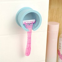 Wall Suction Shaver Holder Razor Tool Shelf Blue White