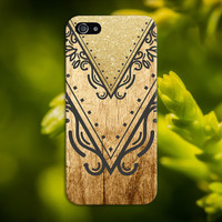 Geometric Gold Glitter Chevron x Wood Design Phone Case for iPhone 6 6 Plus iPhone 5 5s 5c 4 4s Samsung Galaxy s5 s4 and Note 5 4