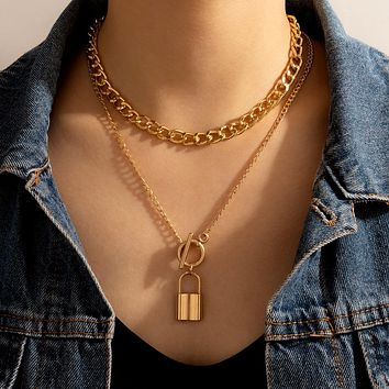 Gold Lock Pendant Necklace for Women Cuban Multilayered Chunky Thick Chain Choker Necklaces Gothtic Jewelry