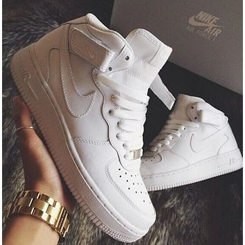 NIKE Women Men Running Sport Casual Shoes Sneakers Air force high tops shoes White-1