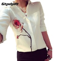 Gtpdpllt 2017 Autumn Rose Flower Printed Long Sleeve Blouse Women Turn Down Collar Chiffon Shirts White Women Clothes