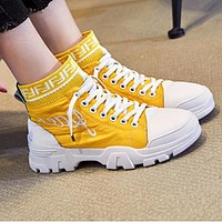 FENDI Newest Popular Women Casual Boots Shoes High Help Martin Boots Shoes Yellow