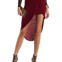 Knotted High-Low Tulip Skirt by Charlotte Russe - Burgundy
