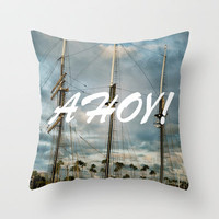Mast Nautical Throw Pillow by RichCaspian | Society6