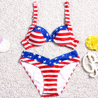 2016 Brand New Summer Sexy Women Sexy Bikini Set Red Striped Swimsuit Swimwear Cross star Bandage Bathing Suit