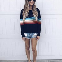 New Black Striped Print Round Neck Long Sleeve Casual Pullover Sweater