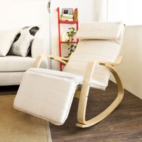 Sobuy Comfortable Relax Rocking Chair with Foot Rest Design, Lounge Chair, Recliners Poly-cotton Fabric Cushion FST16-W,White Color