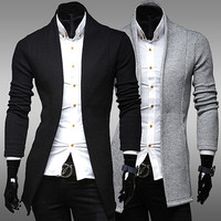 Slim Fit Sweater Cardigan with Contouring Lines